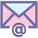 at, at sign, email, envelope, letter, message, post icon