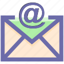 at sign, email, envelope, letter, mail, message, post, send icon