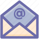 at, at sign, envelope, letter, mail, message, open icon