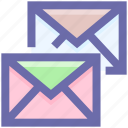 double, email, envelope, envelopes, letter, mail, message, messages icon
