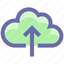 cloud and upload arrow, cloud and upload sign, cloud computing, cloud network, cloud upload, cloud uploading icon