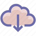 cloud and download arrow, cloud and download sign, cloud computing, cloud download, cloud downloading, cloud network icon