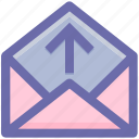 email, envelope open, inbox, letter, message, open, up, up arrow icon