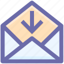arrow, down, down arrow, email, envelope, envelope open, letter, message, open, outbox icon