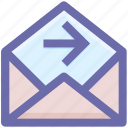 email, forward, letter, message, open, right arrow