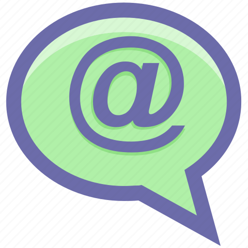 at, at sign, chat, contact, mail, message, text icon