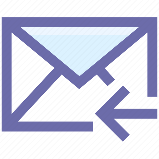 Email, left arrow, letter, mail, message, receive icon - Download on Iconfinder