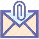 clip, email, envelope, forward, latter, left arrow, letter, mail, message, paper clip