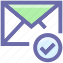 approved, check, email, envelope, letter, mail, message icon