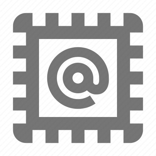 at sign, stamp icon