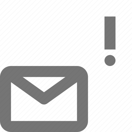 alert, email, envelope, error, exclamation, message icon