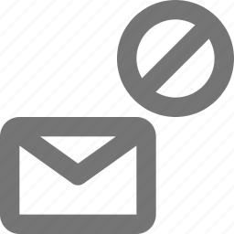 block, email, envelope, message, stop icon