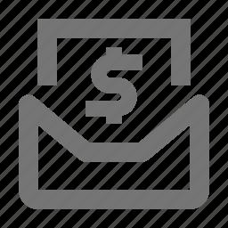 dollar, email, envelope, message, money icon