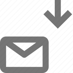 arrow, down, download, email, envelope, message icon