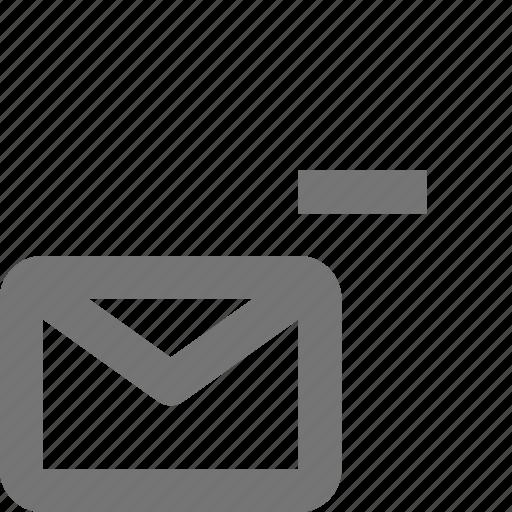 email, envelope, message, minimize, minus icon