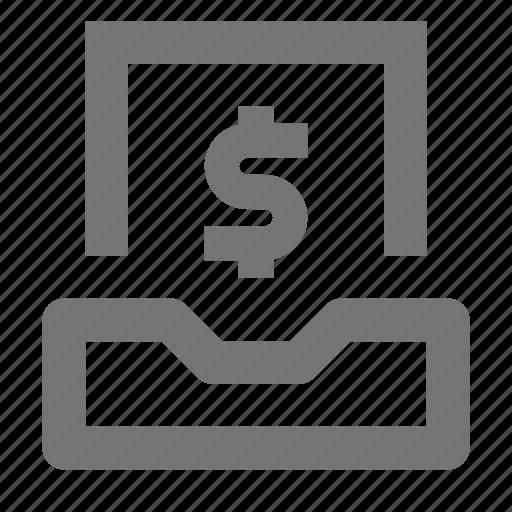 dollar, inbox, money icon