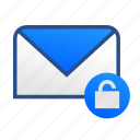 business, communication, email, letter, mail, message, unlock icon