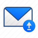 business, communication, email, gmail, mail, message, upload icon