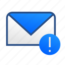 business, communication, email, mail, message, office, warning icon