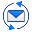business, communication, email, mail, message, office, refresh icon
