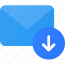 arrow, down, download, email, mail, send icon