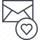 email, envelope, heart, mail, mailer, message, messaging icon