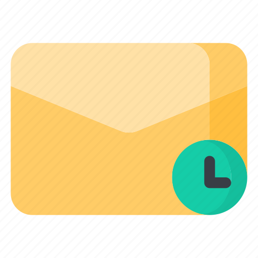 clock, email, envelope, letter, mail, message icon
