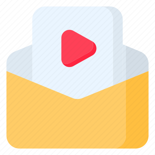 email, envelope, letter, mail, message, play, video icon