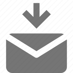 arrow, down, download, email, message icon