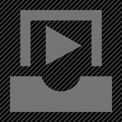 inbox, play, video icon