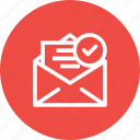 email, inbox, mail, right, true, verified, verify icon