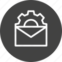 configuration, email, gear, mail, message, setting, settings