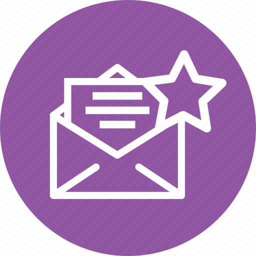 bookmark, email, favorite, letter, mail, send, star icon