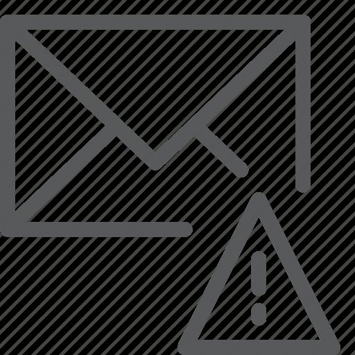 alert, email, envelope, letter, mail, message, send, warning icon