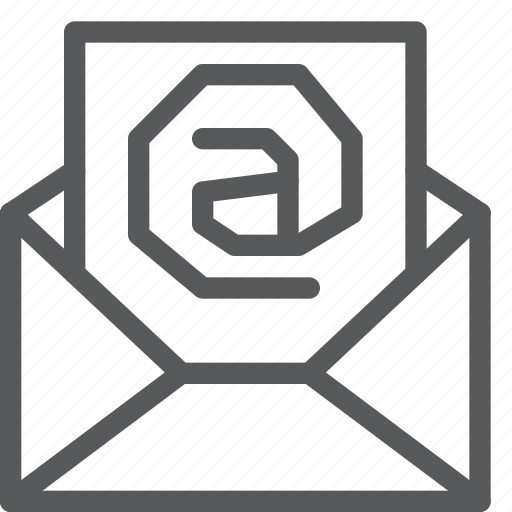 at, email, envelope, letter, mail, message, send, sign icon