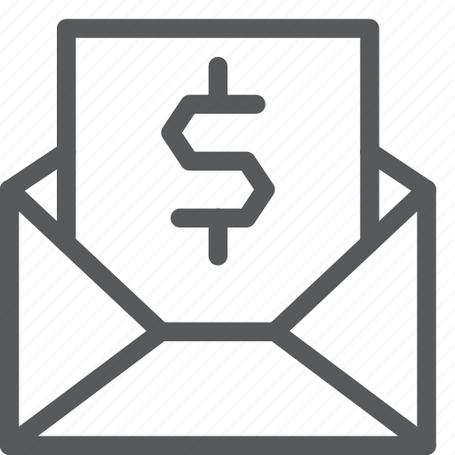 dollar, email, envelope, letter, mail, message, receipt, send icon