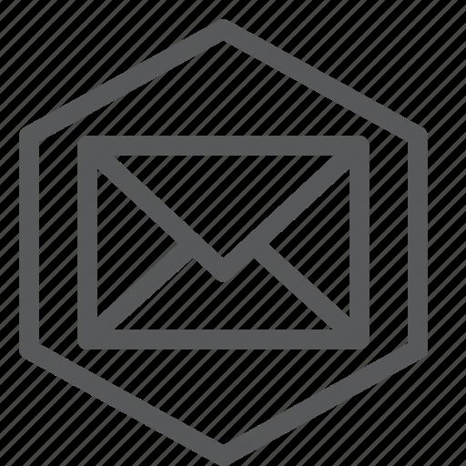 envelope, hexagon, letter, mail, message, send icon