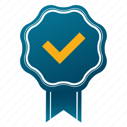 accept, approve, award, check out, emblem, guarantee, satisfaction icon