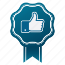 approve, award, badge, emblem, guarantee, like, satisfaction icon