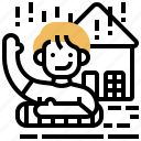 disaster, flood, rainstorm, rescue, water icon