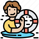 drowning, floating, lifebuoy, rescue, survive icon
