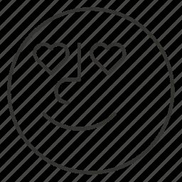 cartoon, emoji, emoticon, face, love, smile, smiley icon