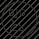 cartoon, emoji, emoticon, face, shame, smile, smiley icon