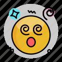 dizzy, emoji, emoticon, face, smiley icon