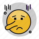 emoji, emoticon, face, lying, smiley icon