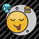 delicious, emoji, emoticon, face, smiley, tasty, yummy