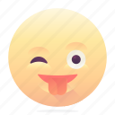 emoji, emoticon, smiley, tongue out, wink icon