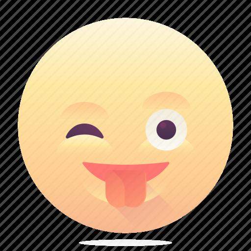 emoji, emoticon, smiley, tongue out, wink icon