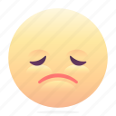 emoji, emoticon, sad, smiley, tired
