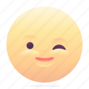 emoji, emoticon, smiley, wink icon